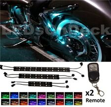 Wireless Control LED Light Strips Kit For Harley-Davidson Motorcycle w/2 REMOTES