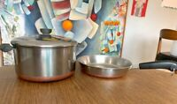Vintage Revere Ware Copper Bottom Stock Pot W/ Lid & Skillet Clinton IL Lot