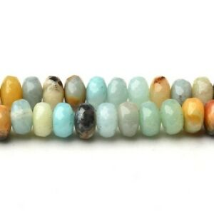 Multicolour Amazonite Beads Faceted Rondelle 4x6mm Strand Of 90+