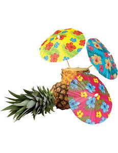 Hawaii Cocktail-Schirmchen Party-Deko 6 Stück bunt 18cm - Cod.55444