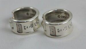 Tiffany & Co. 1837 Sterling Silver Wide Huggie Hoop Earrings