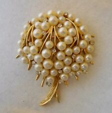Vintage Trifari Tree Pin Brooch White Pearl Clear Rhinestone Gold Metal Signed