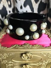 Betsey Johnson Vintage Miami Chic Black Lucite Polka Dot Pearl Bangle Bracelet