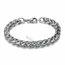 Fashion Cool 6mm Polished Stainless Steel Wheat Chain Men's Bracelets Bangle