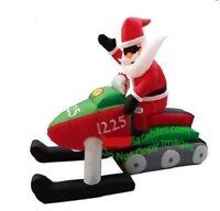 CHRISTMAS SANTA 7 FT SNOWMOBILE  INFLATABLE AIRBLOWN YARD DECORATION