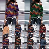 Women's Off Shoulder Knitted Jumper Oversized Baggy Sweater Pullover Tops Lot