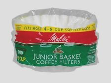 100ct MELITTA 62912 Junior Basket Coffee Filters Fits Most 4-6 Cup Makers Brewer