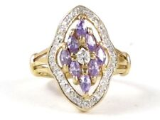 10k Yellow Gold Marquise Amethyst and Round Diamond Right Hand Ring .60ct
