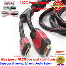 Premium Mini HDMI to HDMI cable w/Protective Nylon Net and Two Cores,6FT FEET