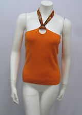 DANA BUCHMAN HALTER TOP ORANGE PRINTED SILK NECKLINE REALLY AWESOME! L FITS S/M