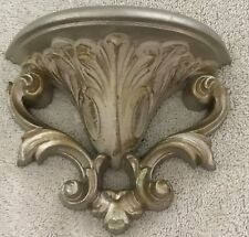 "Homco Home Interior Silver/Gold Wall Pocket Made in Usa 5"" x 6"" Antiqued Vintage"