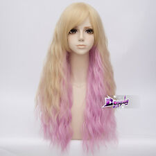 70cm Long Pink Mixed Blonde Curly Hair Lolita Party Anime Cosplay Wig + Cap