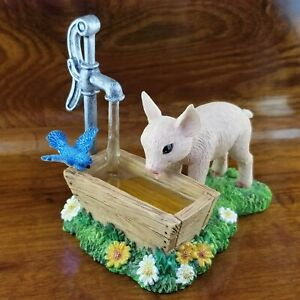 NEW The Hamilton Collection Lap It Up Watering Trough Pig & Blue Bird Figure