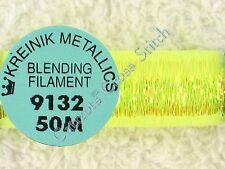 Kreinik Blending Filament 9132 Lemon Grass Metallic Thread 50M Cross Stitch