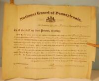 1895 National Guard 1st Regiment Pennsylvania Volunteer Army Infantry Cert.