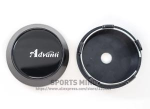 4x60mm Advanti Black Emblems Wheel Center Caps Hubcaps Rim Caps Decals Badges