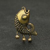3.6CM Collection Curio China Bronze Animal Dragon Fish Pendant Small Statuary