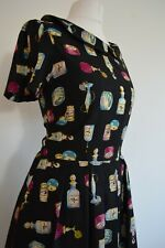 Vintage inspired cute quirky 1950's look perfume dress size 12 by Revival