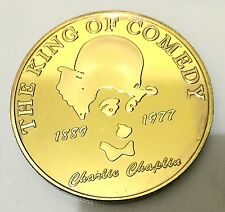 """Charlie Chaplin """"The King Of Comedian"""" Coin Medallion 24K 999 GOLD FINISHED"""