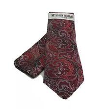 Stacy Adams Men's Tie & Hanky Set Red Black Silver 100% Microfiber Hand Made