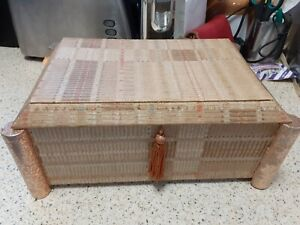 VINTAGE SEWING BOX, WOOD BOX, BEIGE AND BROWN PAPER COVERED BOX