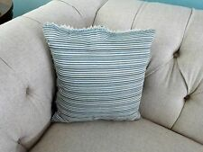 """Vintage FORTUNY Fabric PILLOW Blue Silver Striped FEATHER Down INSERT 15"""""""