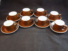 Vintage Set of 4 ACF Italy Espresso Demitasse Dark Brown Coffee Cup/Saucer
