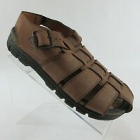 ECCO Brown Leather Sandals Ankle Strap Woven Fisherman Women's Size 10-10.5/41