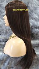 Long Straight Brown Mix Full Lace Front Wig Heat Ok Hair Piece #FS4.27.30 NWT