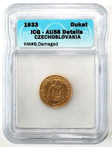 Czechoslovakia 1933 Dukat Gold Coin ICG AU58 Details KM8