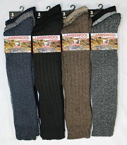 Mens Lambs Wool Long Hose Padded Sole Socks Lot Thick Warm Sock 3 Pair Size 6-11