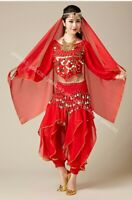 Belly Dance Sleeve Top & Harem Pants Trousers Hip Scarf Outfit Set Fancy Costume