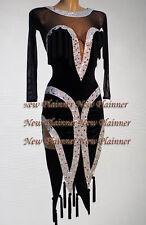L3993Cocktail women chacha Latin samba salsa swing dance dress US 6 Black sleeve