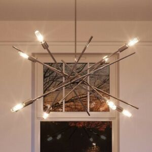 Modern Industrial Chandelier Brushed Nickel Finish, Miami Collection