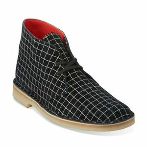 Clarks Original Desert Men's Black/White Grid Suede Chukka Boot Style#26110027