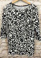 Susan Graver shirt Top womens medium Ruffled tiered black white 3/4 slv BX3