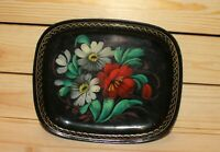 Vintage hand painted floral metal tole platter tray