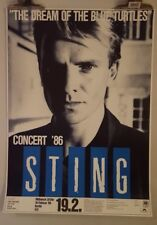 Sting Dream of the Blue turtles  tour  1986 Original Concert  poster