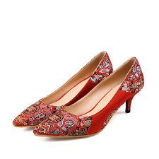 Women Wedding Red High Heels Pointy Toe Floral Print Stilettos Slip On Date Shoe