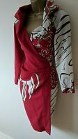 VIVIENNE WESTWOOD RED LABEL 42 STUNNING FLORAL TAILORED WOOL WRAP DRESS £1245