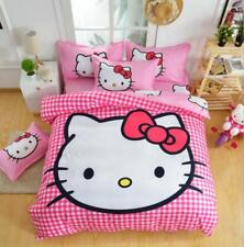 3D Plaid Hello Kitty Kids Bedding Set Duvet Cover Bed Sheet twin full queen