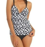 Athena Sierra Fauxkini Womens Black White Striped One Piece Swimsuit Size 10