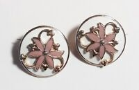Vintage White & Pink Enamel Pair Flowers & Shamrock Round Scatter Pins Brooches