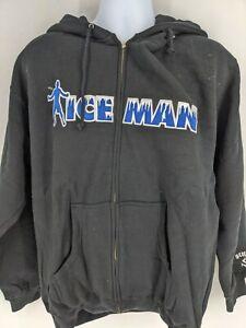 Sinister Chuck Liddell ICEMAN Logo Black Hoodie Sweater Full Zipper Mens Large