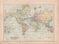 1901 VICTORIAN MAP ~ THE WORLD COMMERCIAL STEAMER ROUTES SAILING VESSELS CARAVAN