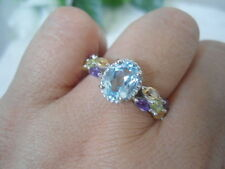 Natural SKY BLUE TOPAZ, AMETHYST, CITRINE Stones 925 STERLING SILVER RING S7.75