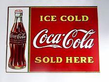 plaque en tôle émaillée publicitaire-coca cola-bar restaurant-ice cold-sold here