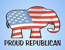 METAL FRIDGE MAGNET Proud Republican Politics Elephant Republicans Flag USA