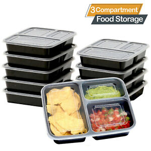 3 Compartment BPA Free Plastic Meal Prep Food Containers Lunch Box Lids New