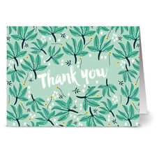 24 Note Cards - Green Fronds Thank You - Gray Envs